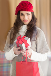 Smiling brunette holding gift and shopping bagsの写真素材 [FYI00004533]
