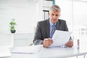 Mature businessman looking at documentの写真素材 [FYI00004616]