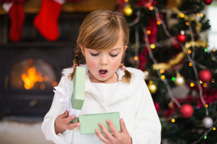 Shocked little girl opening a giftの写真素材 [FYI00004652]