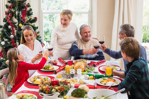 Family toasting with red wine in a christmas dinnerの写真素材 [FYI00004665]