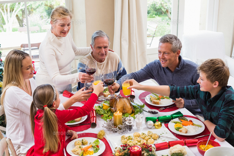 Family toasting with red wine in a christmas dinnerの写真素材 [FYI00004668]