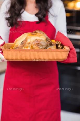 Mid section of woman holding roast turkeyの写真素材 [FYI00004699]