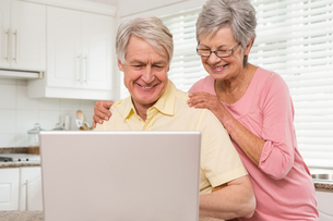 Senior couple using the laptop togetherの写真素材 [FYI00004708]