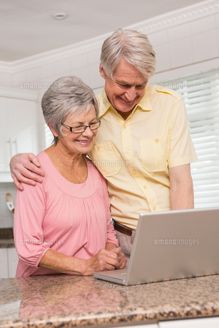 Senior couple using the laptop togetherの写真素材 [FYI00004709]