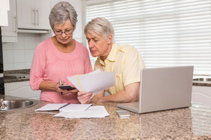 Senior couple paying their bills with laptopの写真素材 [FYI00004710]