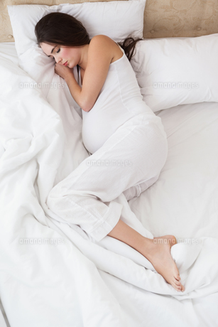 Pregnant brunette sleeping in bedの写真素材 [FYI00004947]