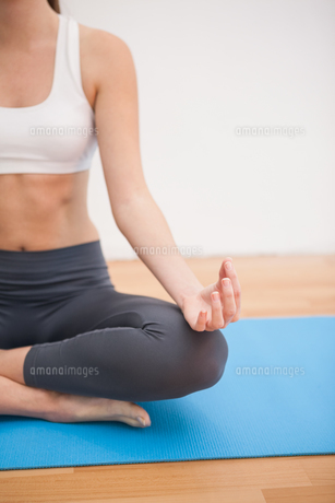 Fit woman doing yoga at homeの素材 [FYI00004959]