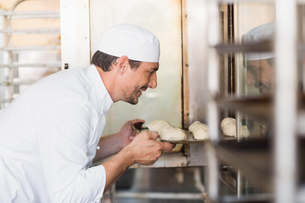 Smiling baker putting dough in ovenの写真素材 [FYI00004981]