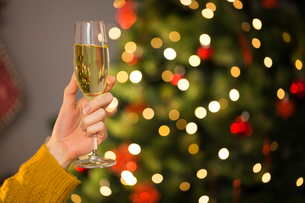 Redhead holding glass of champagne on couch at christmasの写真素材 [FYI00005038]