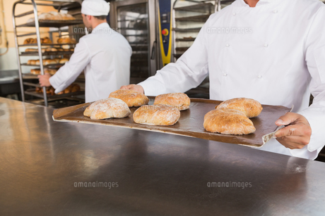 Close up of baker holding tray of breadの写真素材 [FYI00005146]