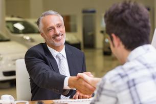 Smiling salesman shaking a customer handの素材 [FYI00005161]