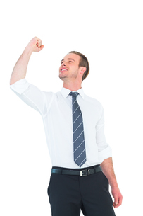 Businessman cheering with clenched fistの素材 [FYI00005172]