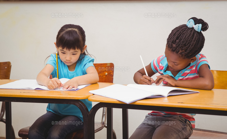 Pupils writing in notepad at their deskの写真素材 [FYI00005504]