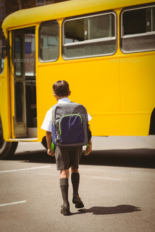 Cute pupil walking to the school busの写真素材 [FYI00005518]