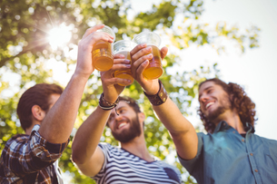 Hipster friends having a beer togetherの写真素材 [FYI00005577]