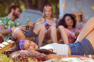 Happy hipsters relaxing on the campsiteの素材 [FYI00005627]