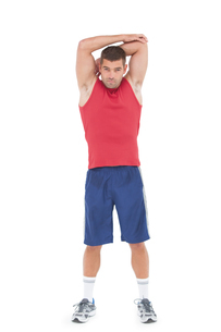 Fit man stretching his armsの写真素材 [FYI00005665]