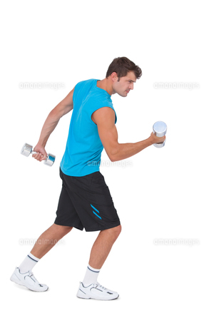 Fit man lifting heavy dumbbellsの写真素材 [FYI00005679]