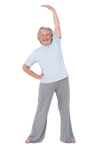 Senior woman stretching her armsの写真素材 [FYI00005685]