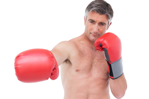 Fit man punching with boxing glovesの写真素材 [FYI00005689]