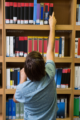 Student picking a book from shelf in libraryの素材 [FYI00005701]