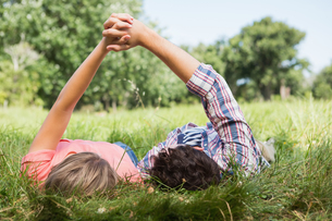 Cute couple holding hands in the parkの写真素材 [FYI00005746]