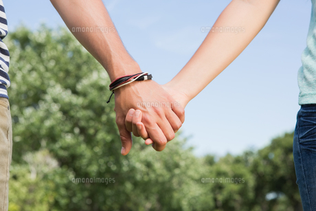 Cute couple in the park holding handsの写真素材 [FYI00005750]