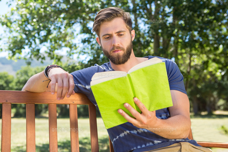 Young man reading on park benchの写真素材 [FYI00005846]