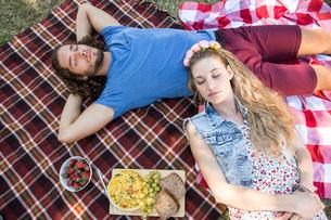 Cute couple having a picnicの写真素材 [FYI00005856]