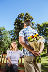 Man surprising his girlfriend with a bouquet in the parkの写真素材 [FYI00006006]