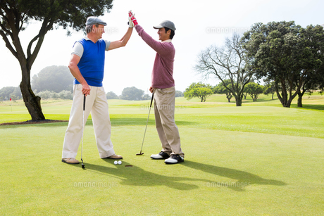 Golfing friends high fiving on the holeの素材 [FYI00006083]