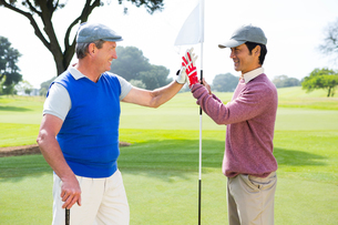 Golfing friends high fiving on the holeの写真素材 [FYI00006086]