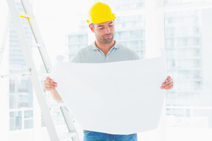 Male architect reading blueprint in officeの写真素材 [FYI00006142]