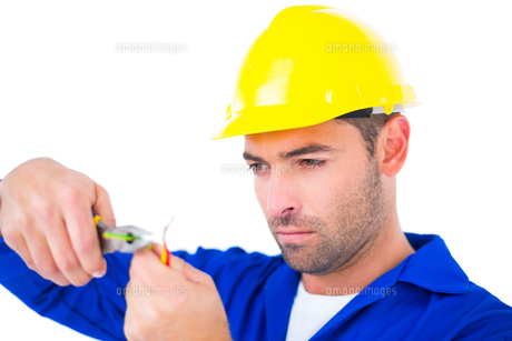 Electrician wearing hard hat while cutting wireの写真素材 [FYI00006150]