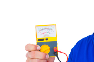Electrician holding voltage testerの写真素材 [FYI00006152]