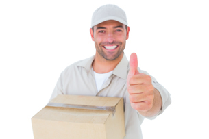 Delivery man with cardboard box gesturing thumbs upの写真素材 [FYI00006179]