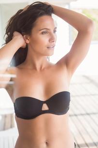 Beatiful woman in black bikini posingの写真素材 [FYI00006310]