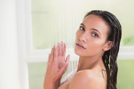 Pretty brunette taking a showerの写真素材 [FYI00006318]
