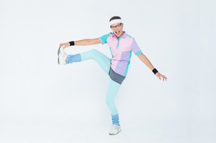 Geeky hipster posing in sportswearの写真素材 [FYI00006415]