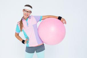 Geeky hipster posing in sportswearの写真素材 [FYI00006419]