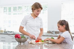 Mother and daughter preparing vegetablesの写真素材 [FYI00006565]