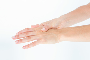 Woman suffering from hand painの写真素材 [FYI00006626]