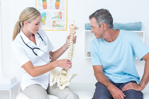 Doctor showing her patient a spine modelの写真素材 [FYI00006764]