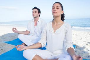 Happy couple doing yoga beside the waterの写真素材 [FYI00006843]