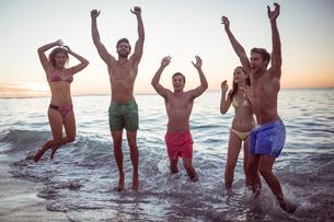 Happy friends having fun in the waterの素材 [FYI00007111]