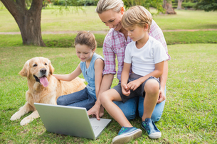 Happy family with their dog using laptopの素材 [FYI00007190]