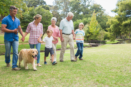 Happy family in the park with their dogの写真素材 [FYI00007206]