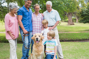 Happy family in the park with their dogの素材 [FYI00007210]