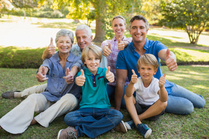 Happy family gesturing thumbs up in the parkの写真素材 [FYI00007241]
