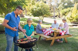 Happy family having picnic in the parkの写真素材 [FYI00007256]